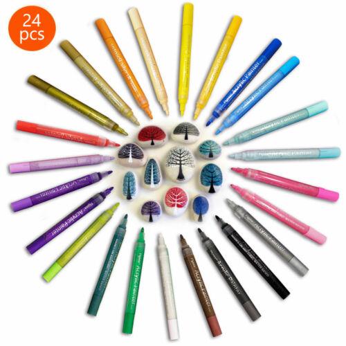 Acrylstifte Marker Set permanent wasserfest Für DIY Graffiti Steine 24 Farben