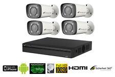 4 Kanal außen Videoüberwachungs Set mit 4x 1080p HD 2.7-12mm Objektiv Kameras !