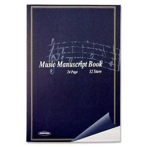 A4 Music Manuscript Book Soft Cover Notebook-  24pg 12 STAVE
