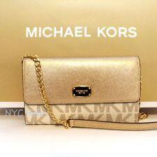New Michael Kors Jet Set Large Phone Crossbody Bag Vanilla Gold NWT