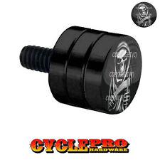 Double Grooved Black Billet Fender Seat Bolt Harley GRIM REAPER SKULL - 049