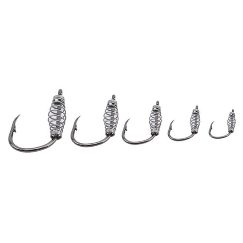 Spring Hook Barbed Swivel Carp Jig Fly Fishing Hooks With Hole Fishing Tackle LD