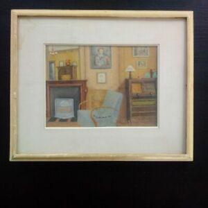 Tableau Guy SERADOUR 1943 huile sur papier signée intérieur appartement