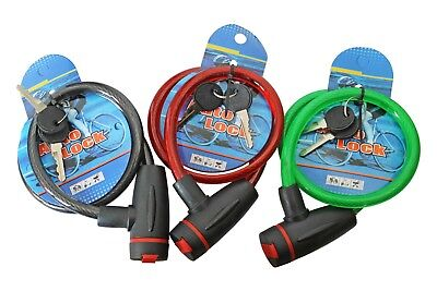 Bicycle LOCK 10mm x 600mm Cable Lock Bicycle Lock 2 Keys Scooter Bike
