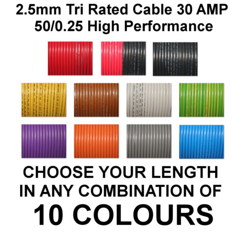 15m RED 2.5mm 30A 12v AUTO CABLE CAR WIRING LOOM WIRE AUTOMOTIVE MARINE BOAT