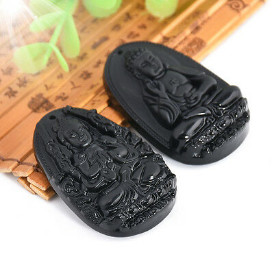 black natural a obsidian carved buddha pendant necklace rope men women gift  X