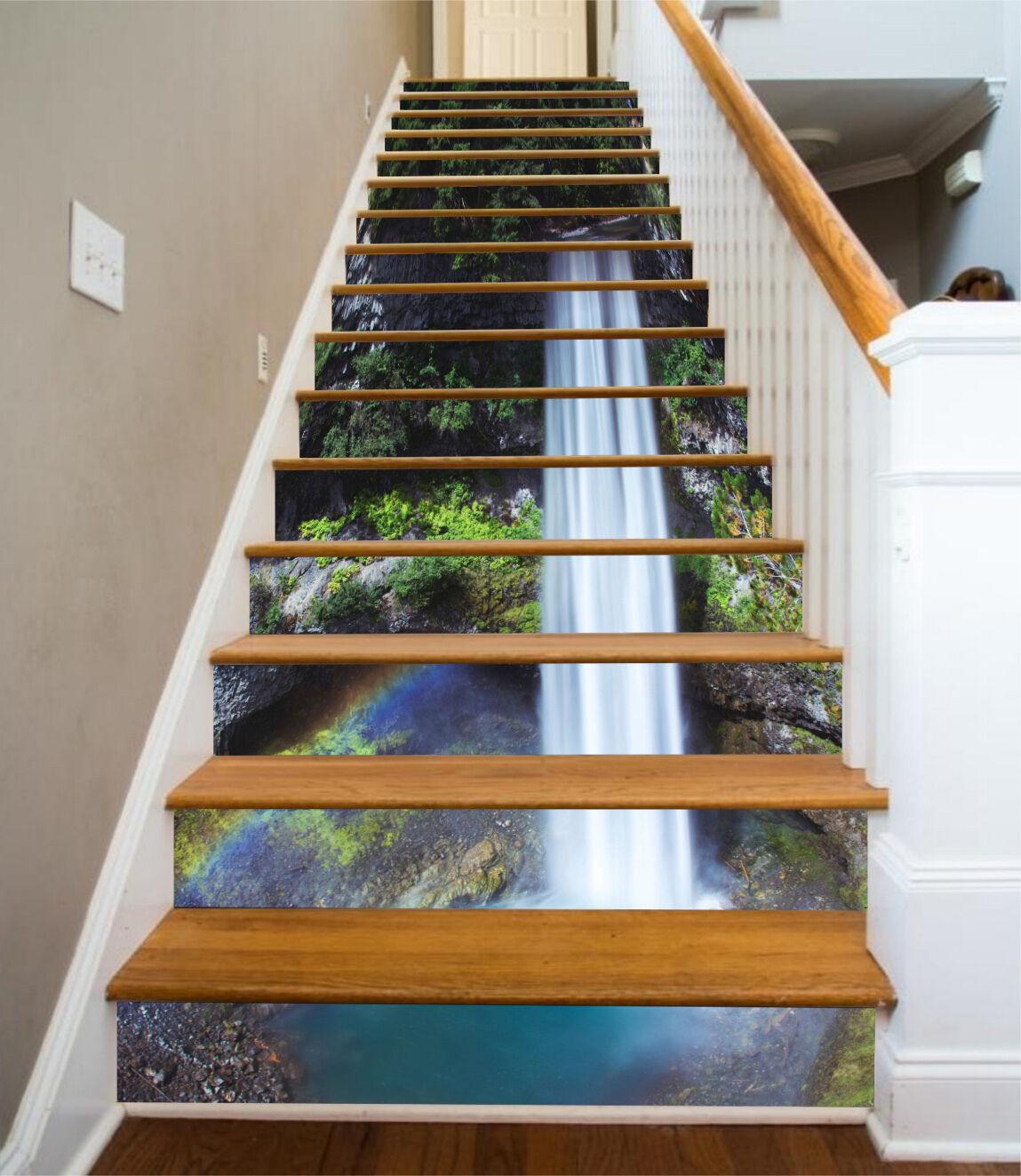 3D Waterfall Rainbow 0863 Risers Decoration Photo Mural Vinyl Decal Wallpaper CA