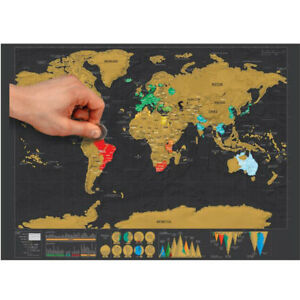 Large scratch off world map poster personalised travel gift ebay image is loading large scratch off world map poster personalised travel gumiabroncs Images