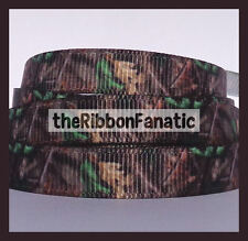 """3 yds 3/8"""" Camo Green Brown Leaves Real Tree Branch Grosgrain Ribbon"""