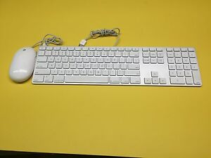 Apple White Aluminum USB Wired Keyboard Mighty Mouse iMAC G4 G5 eMAC A1243 A1152