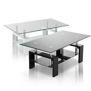 Tempered Glass Top Coffee Table Rectangular Wood Shelf Living Room Furniture