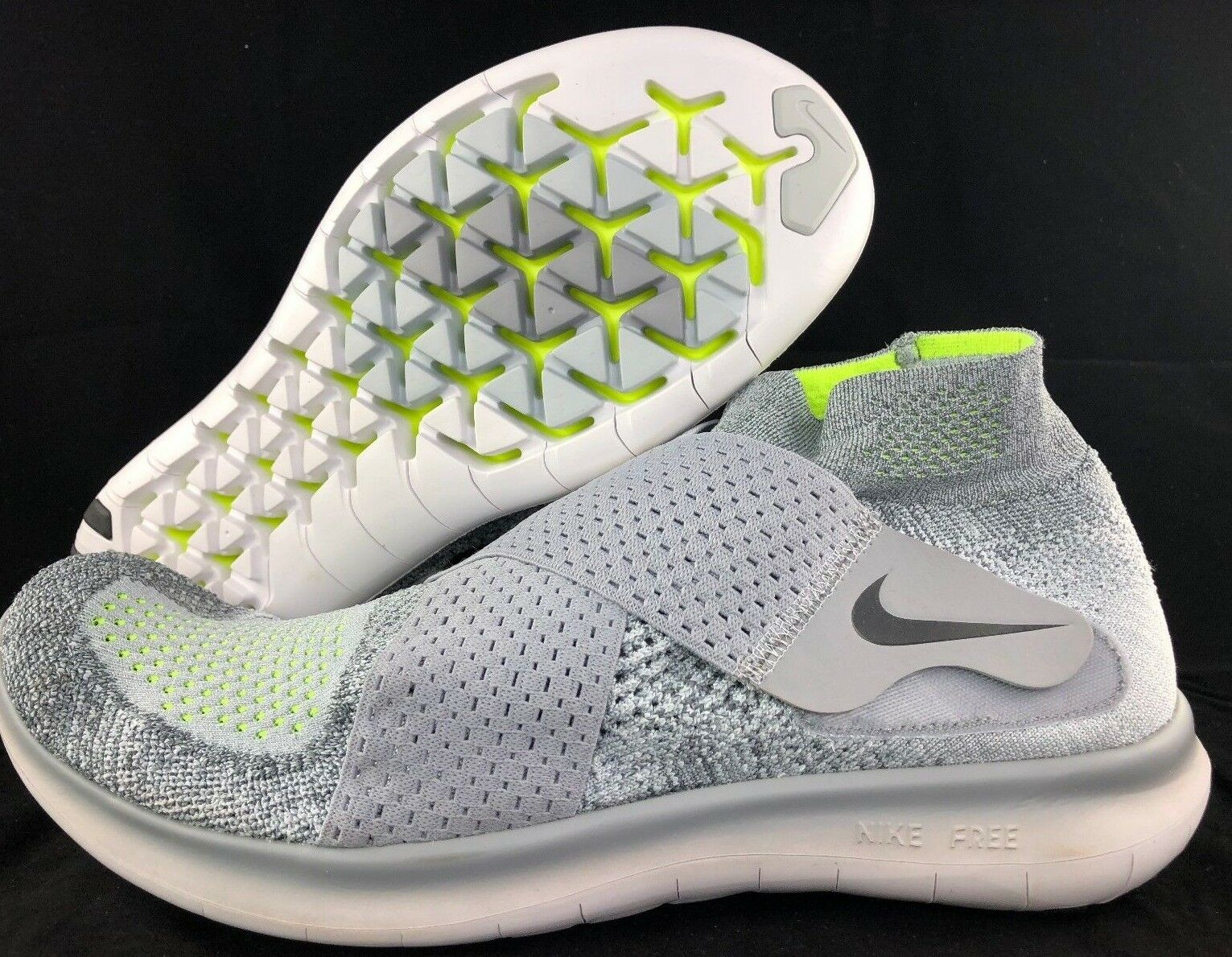 Nike Free RN Run Motion FK Flyknit 2018 Grey Black White 880845-002 Men's 9.5-13