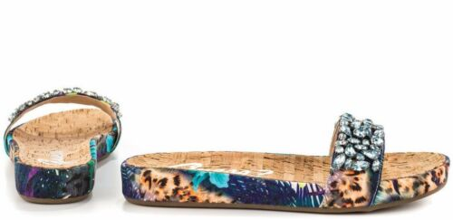 Guess Padalis Rhinestone Embellish San Blue-Multi Floral Slide Sandal Shoes  $79