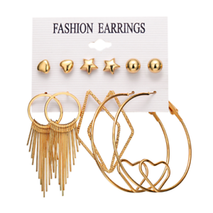 Latest Fashionable Stud Earings 6 Pack Multiple Designs For teen agers and women