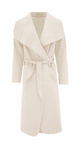 Ladies Italian Long Waterfall Trench Duster Coat Collar Belt Jacket Lush Wrap