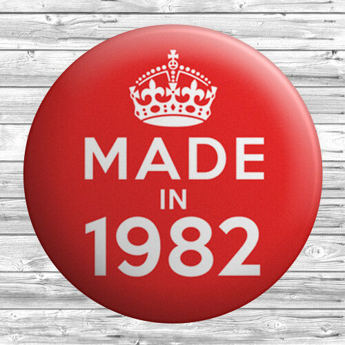 25mm Year 37th Birthday in 2019 Gift Red Made In 1982 Button Badge 1 inch