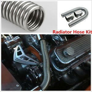 24-034-Stainless-Steel-Chrome-Radiator-Flex-Coolant-Water-Hose-Kit-With-Caps-Cover