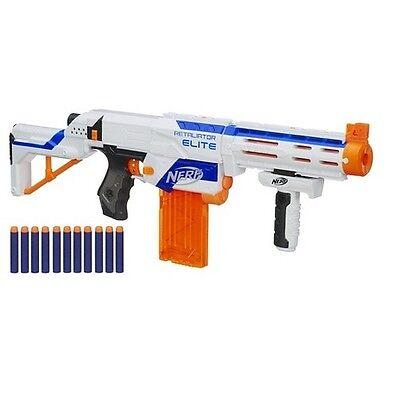 New NERF White RETALIATOR ELITE DART GUN 4 IN 1 Blaster Toy