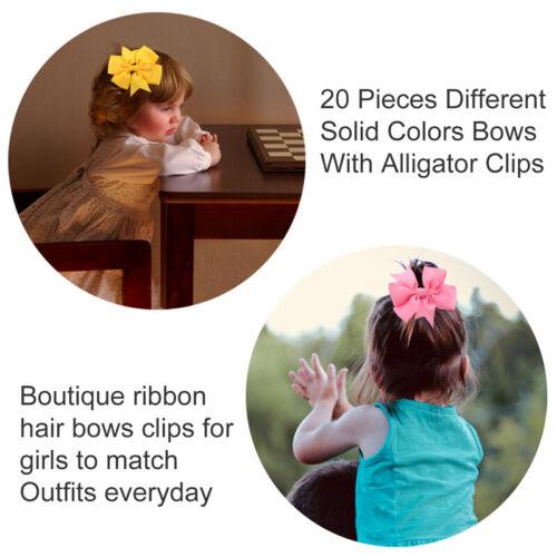 "40 Pcs Baby Girls Kids 3.5/"" Grosgrain Ribbon Boutique Hair Bows Alligator Clips"