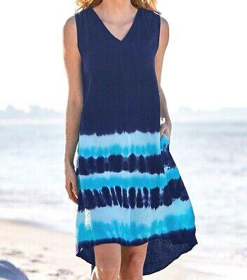 FRESH PRODUCE Large Moonlight Navy Blue BOTANICAL Lily Floral Dress $89 NWT L