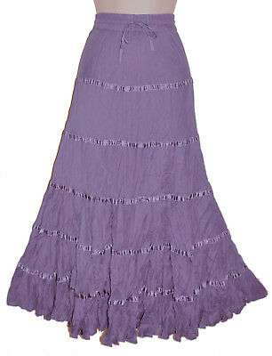 39208c835f LADIES LONG MAXI CRINKLE COTTON RIBBON TIERED HIPPY BOHO GYPSY LINED SKIRT