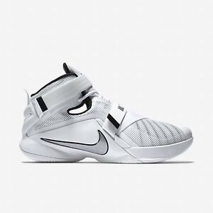 best sneakers 89c05 f9812 Details about Size 14 Nike Men LeBron Soldier IX 9 Shoes 749498 100 White  Black Silver