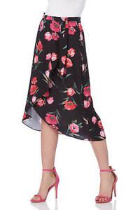 Roman-Originals-Women-039-s-Black-Floral-Print-Wrap-Skirt-Sizes-10-20