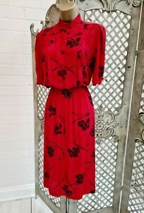VINTAGE  RETRO 40s RED FLORAL FIT & FLARE TEA DAY DRESS ORIGINAL 14