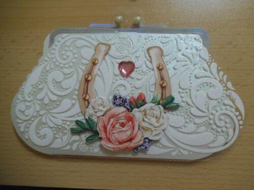 3D-Grusskarte °Hufeisen° Form Handtasche Geldbörse Handarbeit Geburtstag