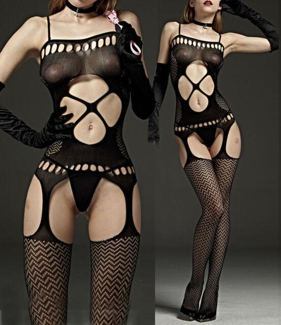 7105 Babydoll Fishnet Lingerie Underwear BODYSTOCKING SUSPENDER Ladies Catsuit