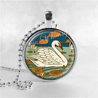 Art Deco Jewelry, Swan Necklace, Swan Jewelry, Bird Jewelry, Swan Pendant, Swan