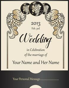 Image Is Loading 4 Personalized Custom Wedding Wine Labels Laser Printed