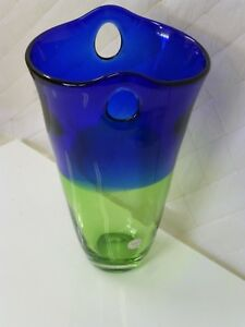 Details about Block Crystal Vase Mouth Blown Blue Green Hand Cut Polished  Art Glass