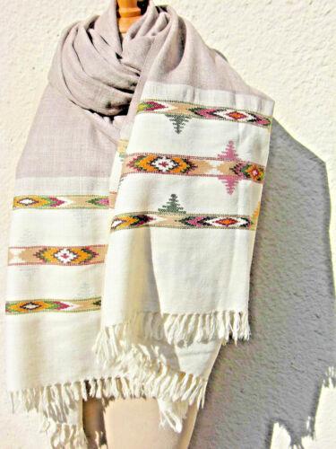 Wollschal Wolltuch Wollstola Damenschal Wolle Kullu Design v. Hand gewebt o6neu
