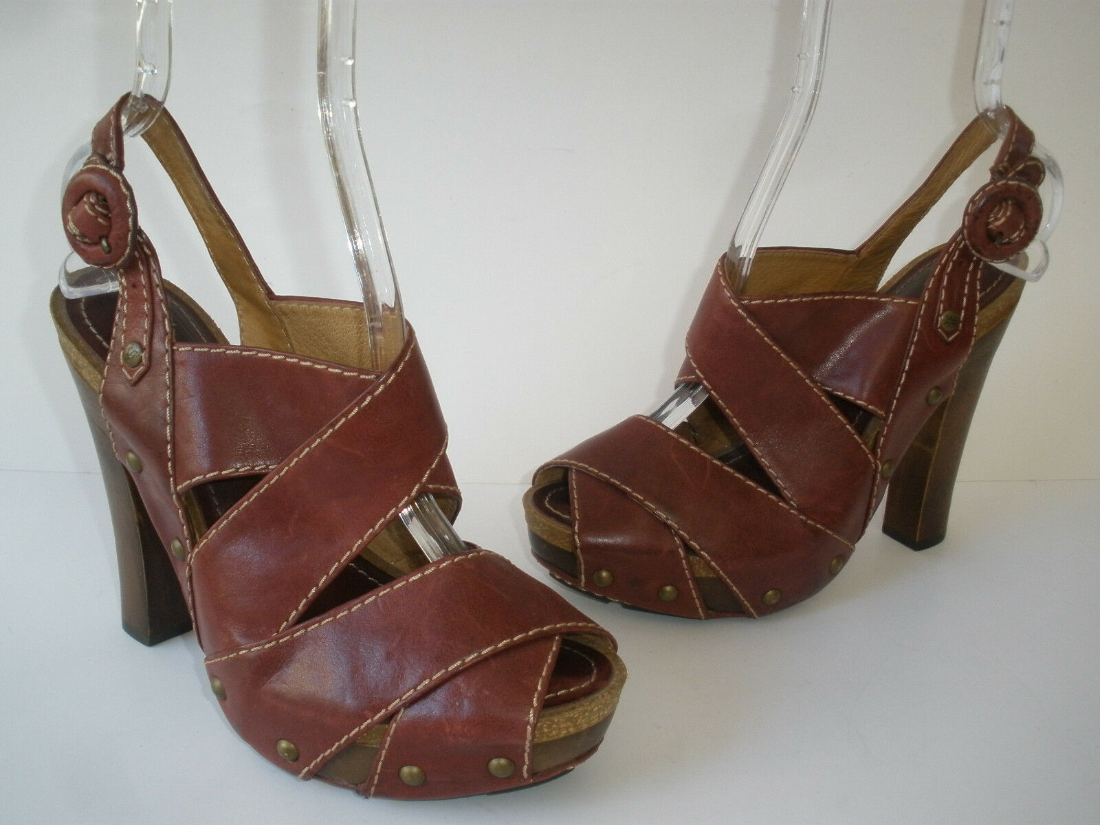 FRYE DARCY PEEP LEATHER SANDALS 5  HEELS WOMEN SIZE US 8M SUPER HOT  RARE