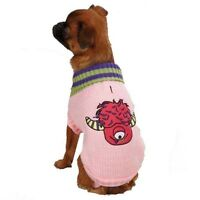 Little Monster Pink Dog Sweater. Adorable One Eyed Monster Embroidered Appliqué