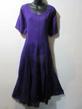 Dress Fits 1X 2X  Plus Long Purple Renaissance Flared Pleated Lace Hem NWT G227