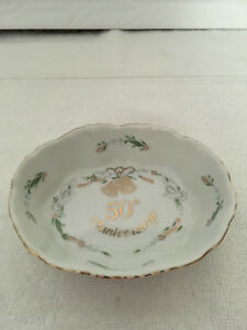 Lefton China  4961 50th Anniversary Bowl Bells  Doves Gold trim Vintage Japan