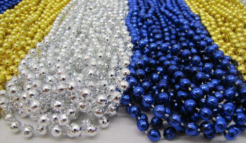 Mardi Gras Beads Royal Blue Gold Silver Mix 6 Dz School Parade Party 72 Necklace