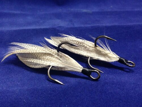 Xmarks Custom Feathered Trebles  VMC 9650 BN 1X Strong 1//0 Fish Tail