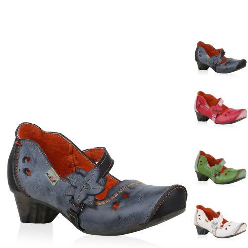 896144 TMA MAIA Damen Leder Pumps Mary Janes Blumen Vintage Schuhe Modatipp