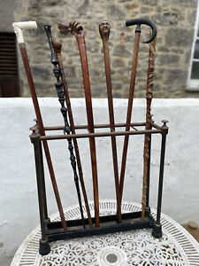 Gorgeous Antique Patinated Brass Walking Stick Stand With Tray. Great Size