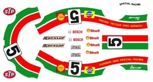 #5 Dino Ferrari 1968-1976 Special Racing 1//64th HO Scale Slot Car Decals