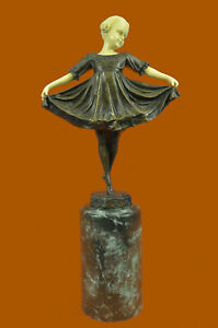 Art-Deco-bone-bronze-dancing-girl-signed-Preiss-Sculpture-Statue-Figurine-Deal