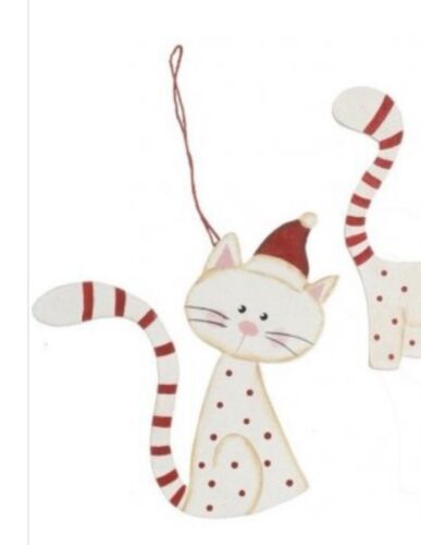 CAT IN A HAT CUTE RED AND WHITE CHRISTMAS CAT CHRISTMAS TREE DECORATION