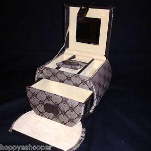 Leather-Jacquard-Jewelry-Bowed-Box-Bag-Drawer-Rings-Lipsticks-Holder-Mirror
