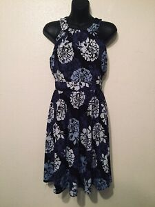 Banana-Republic-Floral-Halter-Dress-Black-Blue-Womens-Size-2