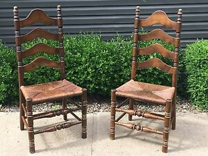 Antique-Rush-Ladder-Back-Wood-Accent-Dining-Wooden-Chairs