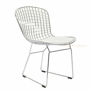 BERTOIA-STYLE-CHAIR-DINING-SIDE-STEEL-WIRE-CHROME-MESH-WHITE-PAD-331-LB-WT-RATE