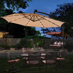 10-039-Hanging-Solar-LED-Umbrella-Patio-Sun-Shade-Offset-Market-W-Base-Beige